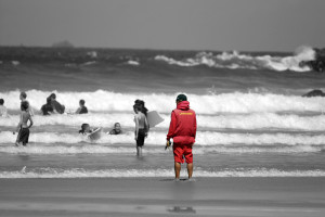Lifeguard at Lusty Glaze, Newquay taken by Chris Cox in 2006